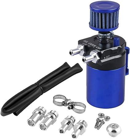 Shiwaki 2 Port Motoröl Auffangbehälter Kit Auto Universal Oil Catch Can Mit Luftfiltern Und Andere Zubehör Alminiumlegierung Blau Auto