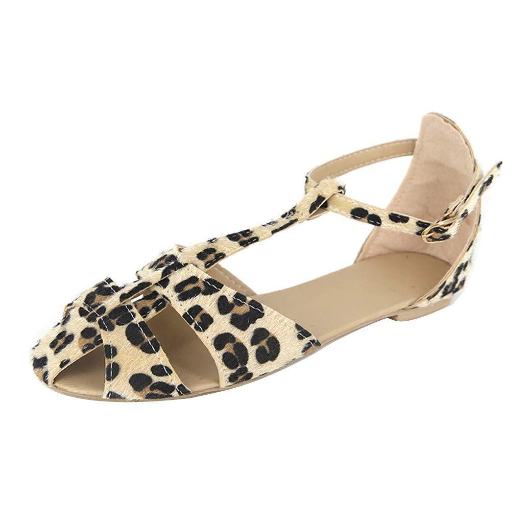 Duseedik Summer Women's Sandals Fashion Leopard Flat Buckle Strap Slip-On Open Toe Flats Beach Roman Shoes Beige