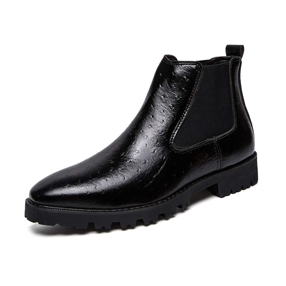 HILOTU Herrenmode Ankle Work Stiefel Lässig Komfortable Abdeckung Abdeckung Komfortable mit geprägten Füßen Anti-Rutsch-Stiefel (Farbe   Schwarz, Größe   38 EU) 0f3664