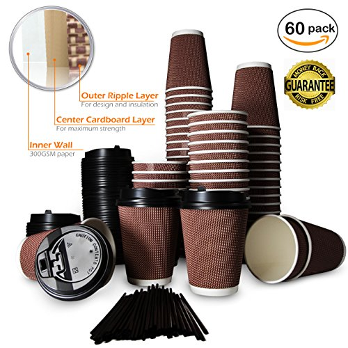 Best Disposable Coffee Cups with Lids and Stirrers | Set of 60 | 12 Ounce Ideal for To Go Office Home Travel Party | No Sleeve Required No Leakage| Tripple Wall Strongest Cups