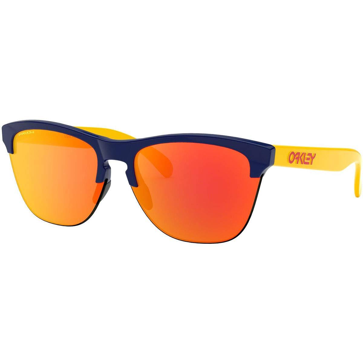 Oakley Men's OO9374 Frogskins Lite Round Sunglasses, Navy/Prizm Ruby, 63 mm by Oakley