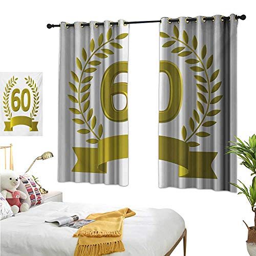 """WinfreyDecor Insulated Sunshade Curtain Golden Age Themed Party with Roman Empire Theme Branches Artsy Print 63"""" Wx45 L, Privacy Protection"""