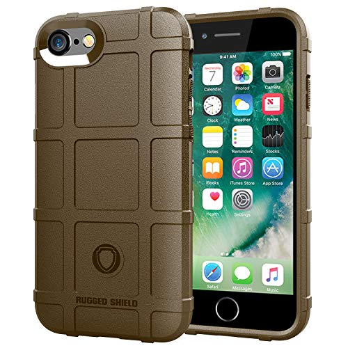 for iPhone7|8Plus Cover Military-Duty Case Impact Hybrid Duty Drop Proof Rugged Outdoor Camping Protection Sport Adventure (iPhone 7/8, Brown)
