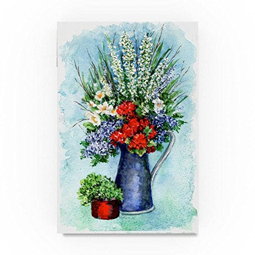 Patriotic Flowers Sketch by Sher Sester, 30x47-Inch Canvas Wall Art