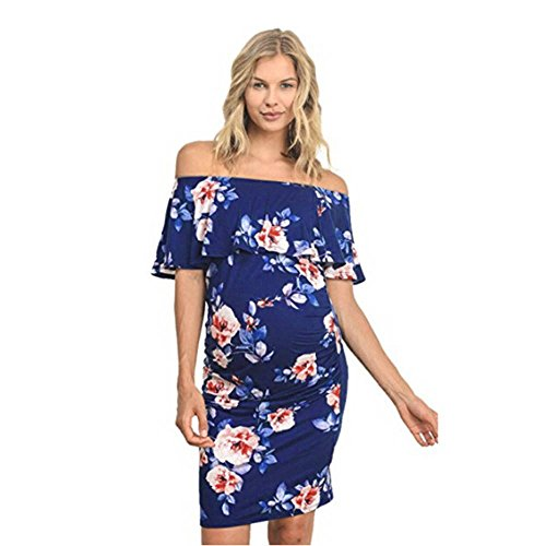 (✿HebeTop✿ Women's Pregnant Floral Ruffle Off Shoulder Maternity Dress Navy)