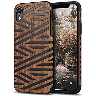 Tasikar Compatible with iPhone XR Case Easy Grip Slim Case with Wood Grain Design Natural Feel Compatible with iPhone XR (Leather & Wood)