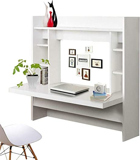White Drop-Leaf Table Wall-Mounted Desk