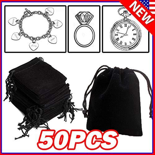 native gear 100PCS Black Velvet Drawstring Velour Pouch Jewelry Baggie Ring Gift Bag Pouch Sets (50)