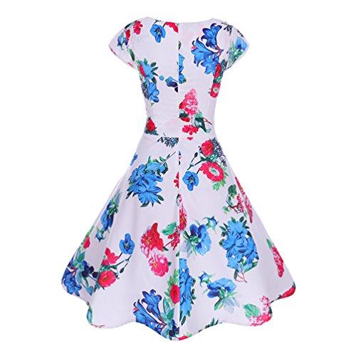 Per Vestito Da Festa Floreale Stampato Vintage Manica Sera 50 Stile Corta Abito Rockabilly Jitong Vestiti 13 Swing Donna Anni q6tZwf16FX