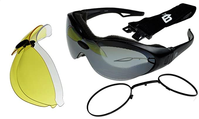 00c22bb3bc Birdz Phoenix Interchangeable Motorcycle Sunglasses Goggles 3 Lens Kit with  Prescription Lens Rx Insert ML  Amazon.co.uk  Clothing