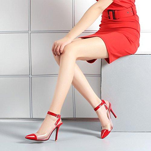 Womens Pointu Toe Strappy Slingback Stiletto Dames Haute Talon Cheville Strap Sandales Chaussures Taille Red lj2kZblhf