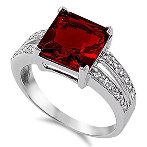Simulated Garnet Vintage Chic Elegant Polished Ring 925 Sterling Silver Band Size 9 (Garnet Vintage Bands)