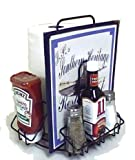 MACH-1 • Case of 8 • Commercial Restaurant Menu & Condiments Holder/Caddie FOR PAPER TOWELS - Thick Industrial Wire - Powdercoated Black Finish. Lasts forever! Type MenuCoverMan in Amazon search.