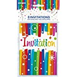 Rainbow Ribbons Birthday Invitations, 8ct