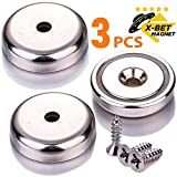Extremely Strong Neodymium Cup Magnets - 90 lbs Holding Force - 1.26' Industrial Strength Round Base Rare Earth Magnets - Countersunk Hole for #10 Bolt, 3 Mounting Screws Included