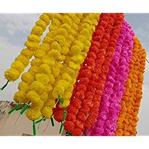 Worldoftextile Assorted 50 Pieces Of Flower Strings Torans Flower Garland Lines Marigold Mango Flower Strings Artificial Blossom Indian Partydecore Mix