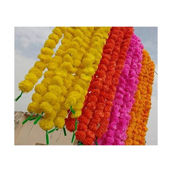 Worldoftextile Assorted 50 Pieces Of Flower Strings Torans Flower Garland Lines Marigold Mango Flower Strings Artificial Blossom Indian Partydecore Mix