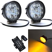 Night Break Light 2 Years Warranty 2pcs 4 Inch 27W Round Amber Strobe LED Fog Light Many Flashing Modes by Wire less Remote Off Road Driving Fog Light for Truck ATV SUV Jeep 4WD 4x4