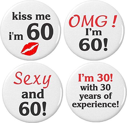 Set 4 Happy 60th Sixty Sixtieth Birthday 2.25