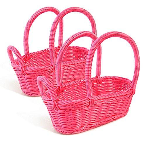 Colorbasket 31324-205 Hand Woven Waterproof Wine Bottle Basket, Rose Red, Set of 2