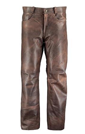 Men/'s Leather Pants Biker Trouser Black Bronze Jeans Style Cowhide Leather 501