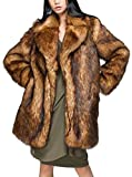 Womens Brown Winter Warm Fluffy Outerwear Faux Fox Fur Parka Thick Coat Tops