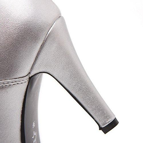 Scarpe Da Donna Adeesu Scarpe Con Tacco A Ruota Scarpe Stringate In Mulo Con Materiale Morbido Argento