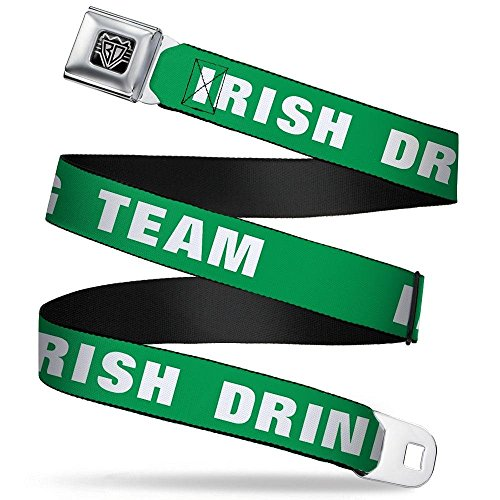 BUCKLE-DOWN INC. Unisex-Adults Buckle-Down Seatbelt Belt Irish Quote Regular, Irish Drinking Team Green/White, 24-38 - Belt Irish