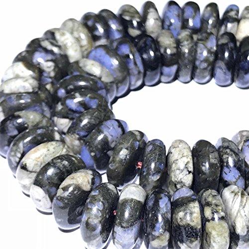 [ABCgems] Brazilian Blue Rhyolite (Beautiful Matrix) 10mm Smooth Rondelle Beads for Beading & Jewelry Making