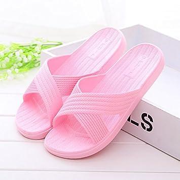 26a79616c2 BAOZIV587 - Zapatillas de baño suaves para exteriores de verano, color rosa:  Amazon.es: Hogar
