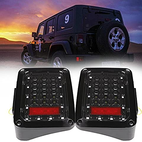 2pcs LED Tail Lights for Jeep Wrangler JK 2007-2016 (Brake Reverse Lights, Turn Singal Lamp) - 89 Passenger Side Bracket