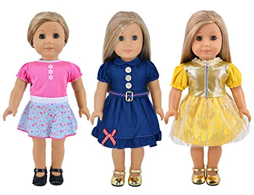 Ebuddy 3-sets Doll Clothes Party Dress Clothes For 18 inch American Girl Doll by ebuddy