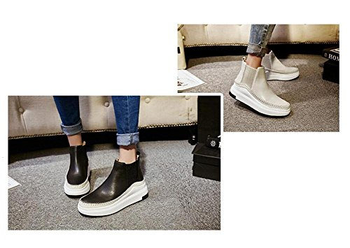 wdjjjnnnv Women's Genuine Leather Platform Shoes Leisure Martin Boots College style Girl's Joker Ankle Bootie 38 Ce6vvpq