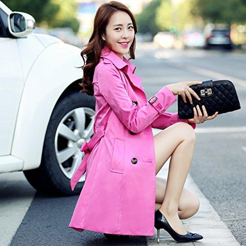 Slim Slim doble cintura niñas largo temperamento anorak Rosa chaqueta Mayihang roja botonadura xgqpt4HwEW