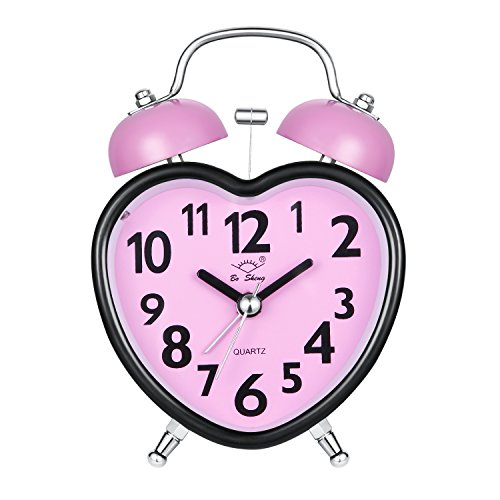 Alarm Clock for Kids, Silent Desk Travel Clock, Cute No Ticking Twin Bell Alarm Clock with Nightlight for Girls Bedrooms, Heavy Sleepers (Pink) - Heart Shaped Clock