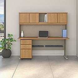 Bush Business Furniture SRA051LOSU Office Suite, Light Oak and Sage