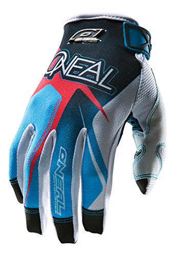 O'Neal Jump Gloves with Race Graphic (Black/Blue/Red, Size 12) ()