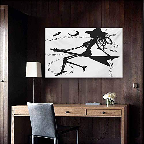 duommhome Music Art Oil Paintings Witch Flying on Electric Guitar Notes Bat Magical Halloween Artistic Illustration Canvas Prints for Home Decorations 32