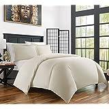Zen Bamboo 3 piezas de fundas de cobertor de rayón derivado de bambú ultra suave-hipoalergénico y resistente a las arrugas, Crema, Completa/Queen, 1