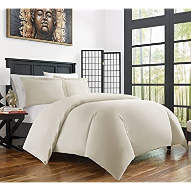 Zen Bamboo Ultra Soft 3-Piece Rayon Derived From Bamboo Duvet Cover Set -Hypoallergenic and Wrinkle Resistant - King/Cal King - Cream