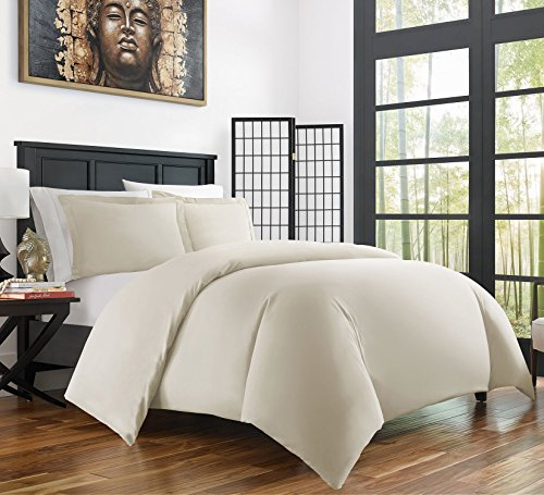 Zen Bamboo Ultra Soft 3-Piece Bamboo Derived Rayon Duvet Cover Set - Hypoallergenic and Wrinkle Resistant - Full/Queen - Cream (Cream Cover Duvet Full)