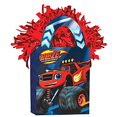 Amscan Boys Blaze and the Monster Machines Mini Tote Party Balloon Weight, 5.7 oz, Blue/Red: Toys & Games
