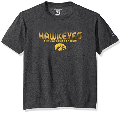 (Champion NCAA Kids Youth Boy's Granite Short Sleeve Jersey Shirt, Iowa Hawkeyes, X-Large)