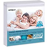 Waterproof Mattress Protector King Size - AirExpect 100% Organic Cotton Hypoallergenic Breathable Mattress Pad Cover, 18' Deep Pocket , Vinyl Free - 76' x 80'