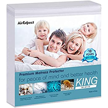 Waterproof Mattress Protector King Size - AirExpect 100% Organic Cotton Hypoallergenic Breathable Mattress Pad Cover, 18