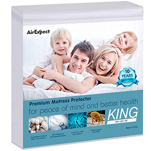 "AirExpect Waterproof Mattress Protector King Size 100% Organic Cotton Hypoallergenic Breathable Mattress Pad Cover, 18"" Deep Pocket, Vinyl Free - 76"" x 80"""
