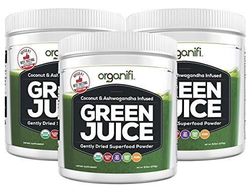 (Organifi: Green Juice - Organic Superfood Supplement Powder - 30 Day Supply - USDA Certified Organic Vegan Greens- 9.5 Ounce (Pack of 3))