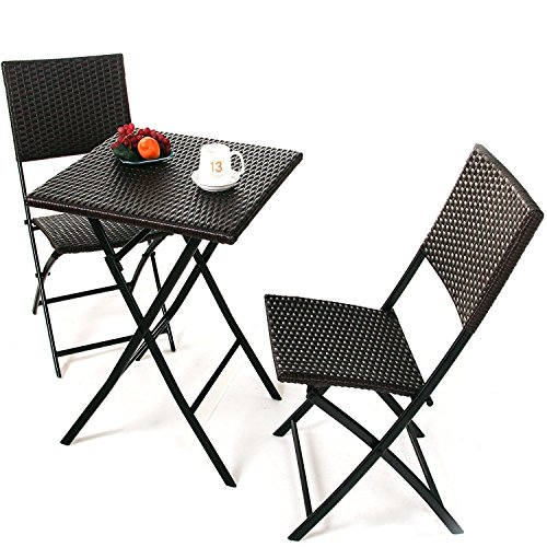 Oakville Furniture Parma Style Rattan Patio Bistro Set, Weather Resistant Outdoor Furniture Sets with Rust-proof Steel Frames, 3 Piece Bistro Set of Foldable Garden Table and Chairs, Brown (Garden Foldable Chair)
