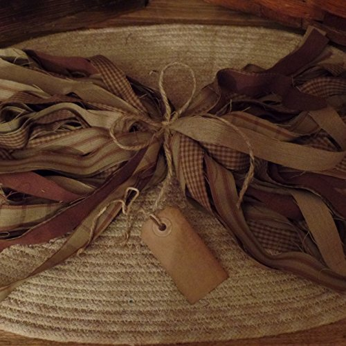 Primitive Tags - 50 Homespun Fabric Strips~Cinnamon~Vanilla Scented Hang Tag~Brown Sugar Collection~1