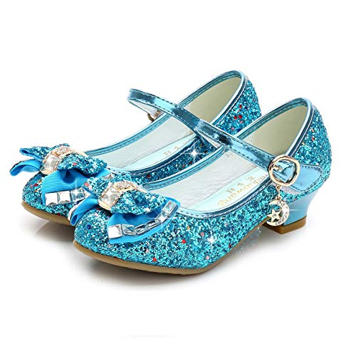 Birthday Party Little Girl's Adorable Sparkle Mary Jane Side Bow Strap Low Heels Princess Dress Shoes(Blue 10.5M Little -